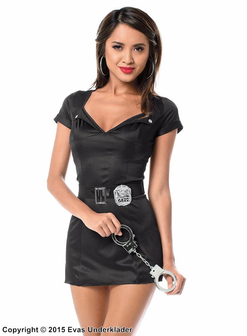 Kort klänning med polisdetaljer, 5 delar